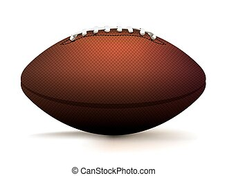 American Football Ball Isolated on White Illustration - A...