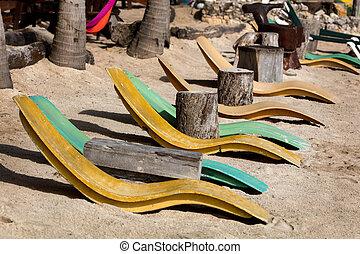 Akumal beach in Quintana Roo, Yucatan, Mexico - Beach beds...
