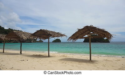 Beautiful beach on tropical island. - Beach with deck...
