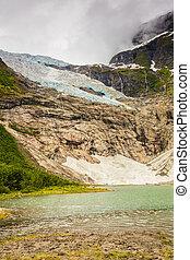 Boyabreen Glacier and lake in Norway - Boyabreen Glacier and...