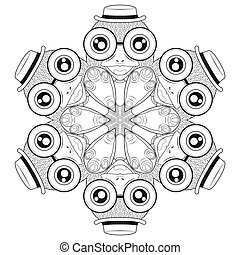 Circle shape pattern with cute birds for coloring book....