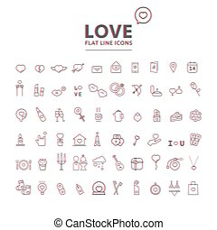 Set of valentine's day objects and icon