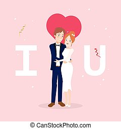Couple character on wedding day