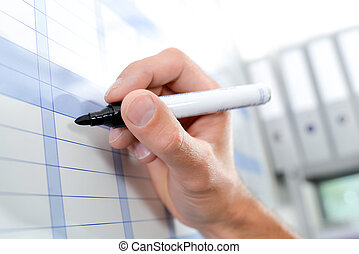 Writing on a chart with marker pen