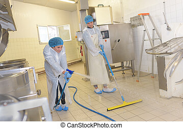 disinfecting the work area