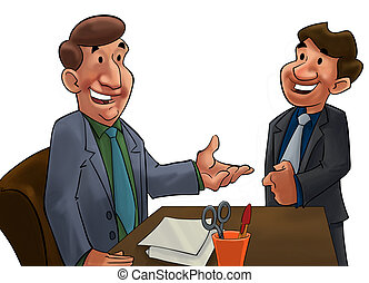 boss and worker - a happy couple of business man talking