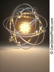 Power Energy Fusion - Concept image of a nuclear atomic...