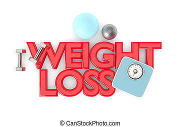 3d rendering of weight loss text with dumbbells, weight...