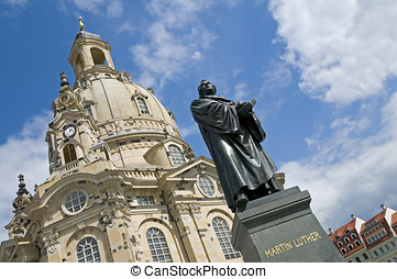 Dresden, Martin Luther Statue - The statue of Martin Luther...