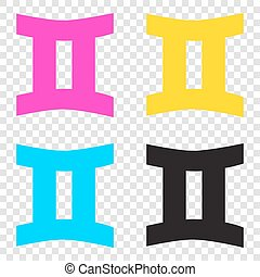 Gemini sign. CMYK icons on transparent background. Cyan, magenta