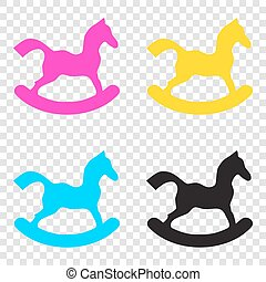 Horse toy sign. CMYK icons on transparent background. Cyan,...