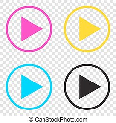 Play sign illustration. CMYK icons on transparent...