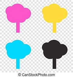 Tree sign illustration. CMYK icons on transparent...
