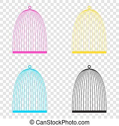 Bird cage sign. CMYK icons on transparent background. Cyan,...