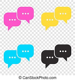 Speech bubbles sign. CMYK icons on transparent background....