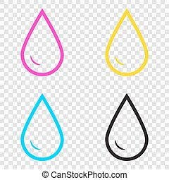 Drop of water sign. CMYK icons on transparent background. Cyan,