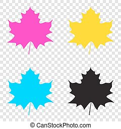 Maple leaf sign. CMYK icons on transparent background. Cyan,...