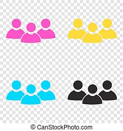 Team work sign. CMYK icons on transparent background. Cyan,...