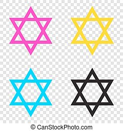 Shield Magen David Star. Symbol of Israel. CMYK icons on...