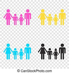 Family sign. CMYK icons on transparent background. Cyan, magenta