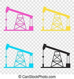 Oil drilling rig sign. CMYK icons on transparent background....