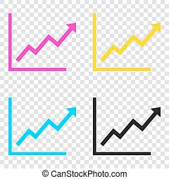 Growing bars graphic sign. CMYK icons on transparent...