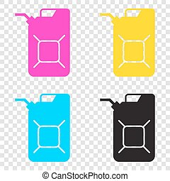 Jerrycan oil sign. Jerry can oil sign. CMYK icons on...