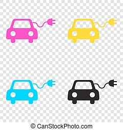 Eco electric car sign. CMYK icons on transparent background....