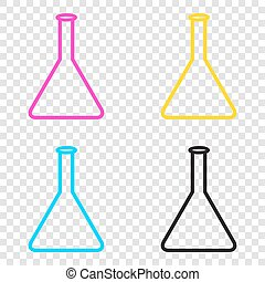 Conical Flask sign. CMYK icons on transparent background. Cyan,