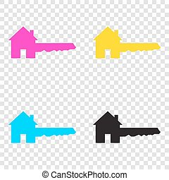 Home Key sign. CMYK icons on transparent background. Cyan, magen