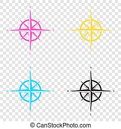 Wind rose sign. CMYK icons on transparent background. Cyan,...