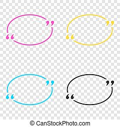 Text quote sign. CMYK icons on transparent background. Cyan,...
