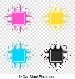 CPU Microprocessor illustration. CMYK icons on transparent...