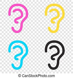 Human ear sign. CMYK icons on transparent background. Cyan,...