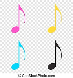 Music note sign. CMYK icons on transparent background. Cyan,...