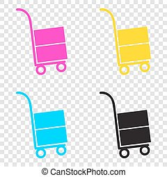 Hand truck sign. CMYK icons on transparent background. Cyan,...