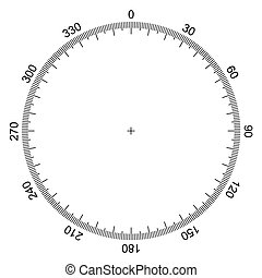 blank protractor - Actual Size Graduation isolated on background