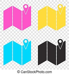 Pin on the map. CMYK icons on transparent background. Cyan,...
