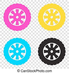 Road tire sign. CMYK icons on transparent background. Cyan,...