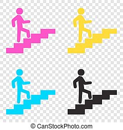 Man on Stairs going up. CMYK icons on transparent...