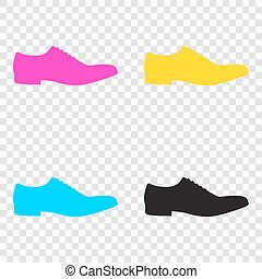 Men Shoes sign. CMYK icons on transparent background. Cyan,...