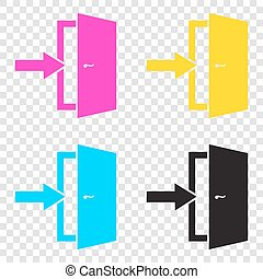 Door Exit sign. CMYK icons on transparent background. Cyan,...