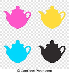 Tea maker sign. CMYK icons on transparent background. Cyan,...