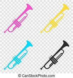 Musical instrument Trumpet sign. CMYK icons on transparent...