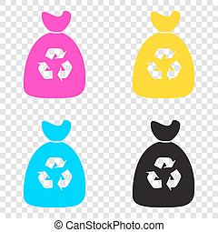 Trash bag icon. CMYK icons on transparent background. Cyan,...
