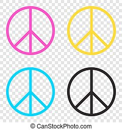 Peace sign illustration. CMYK icons on transparent...