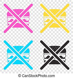 No burger sign. CMYK icons on transparent background. Cyan,...