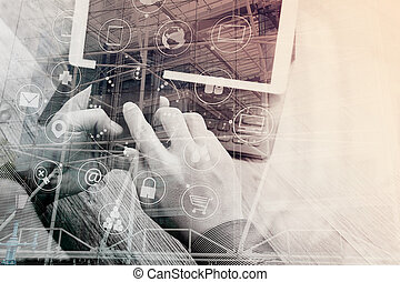 Double exposure of Hand using smart phone payments online...