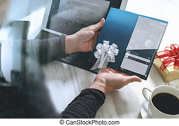 Businessperson Hands holding New Gift Card or Credit...