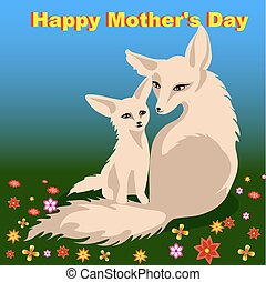 Mother s day card with two foxes - Mother s day card with...